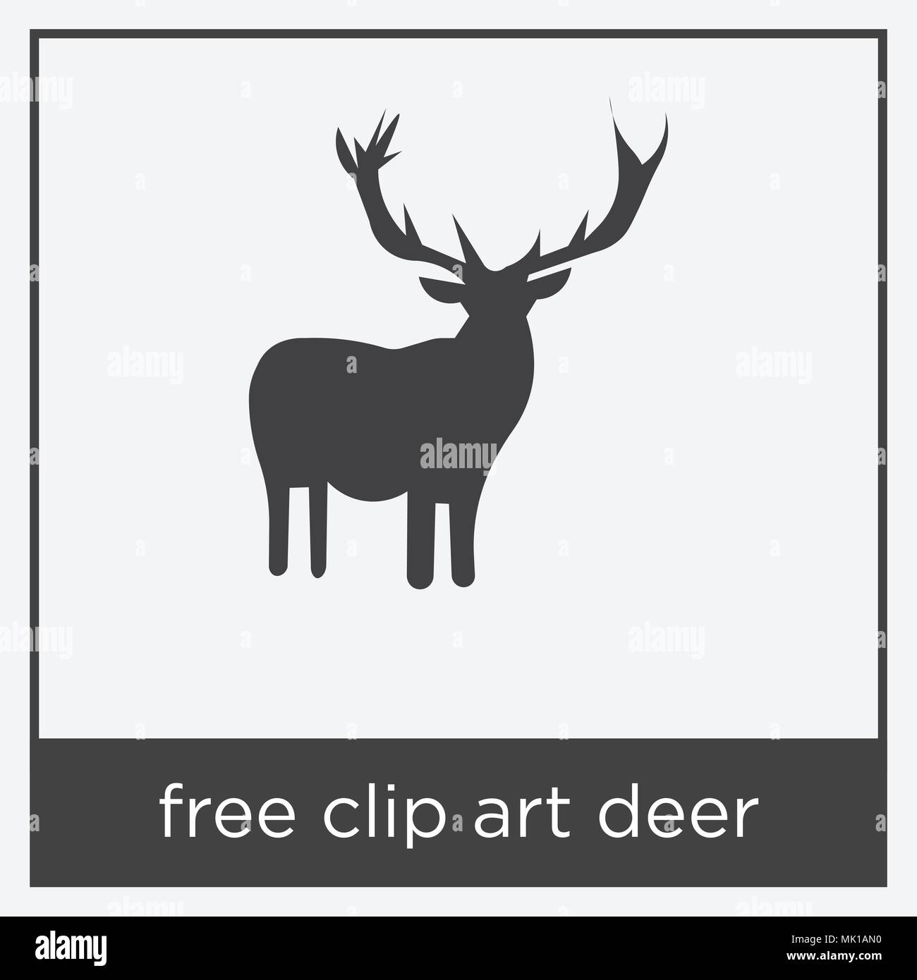 free clip art deer icon isolated on white background with gray frame ...