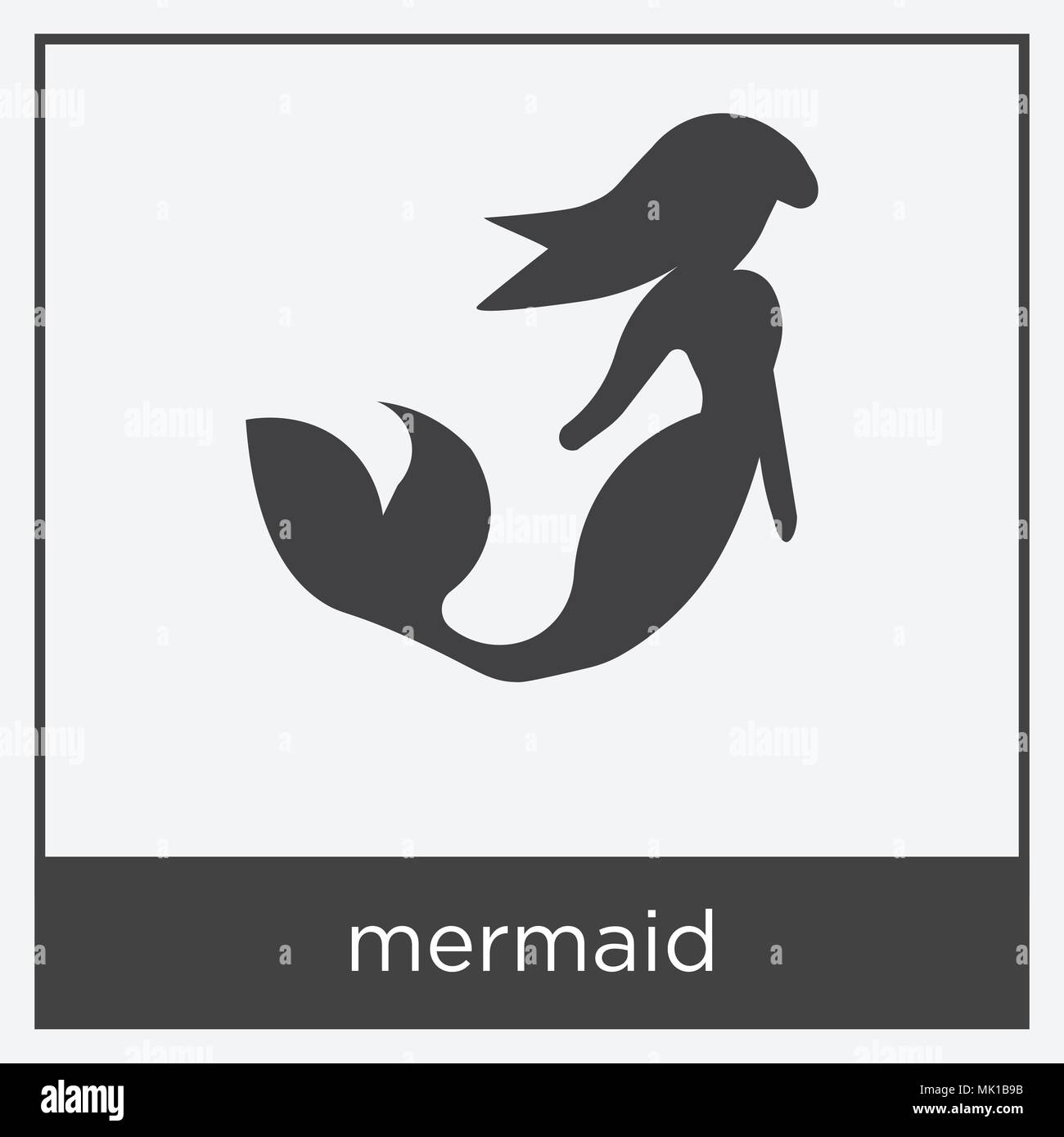 Mermaid Icon Isolated On White Background With Gray Frame Sign And