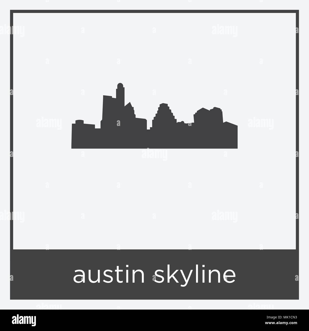 austin skyline icon isolated on white background with gray frame ...
