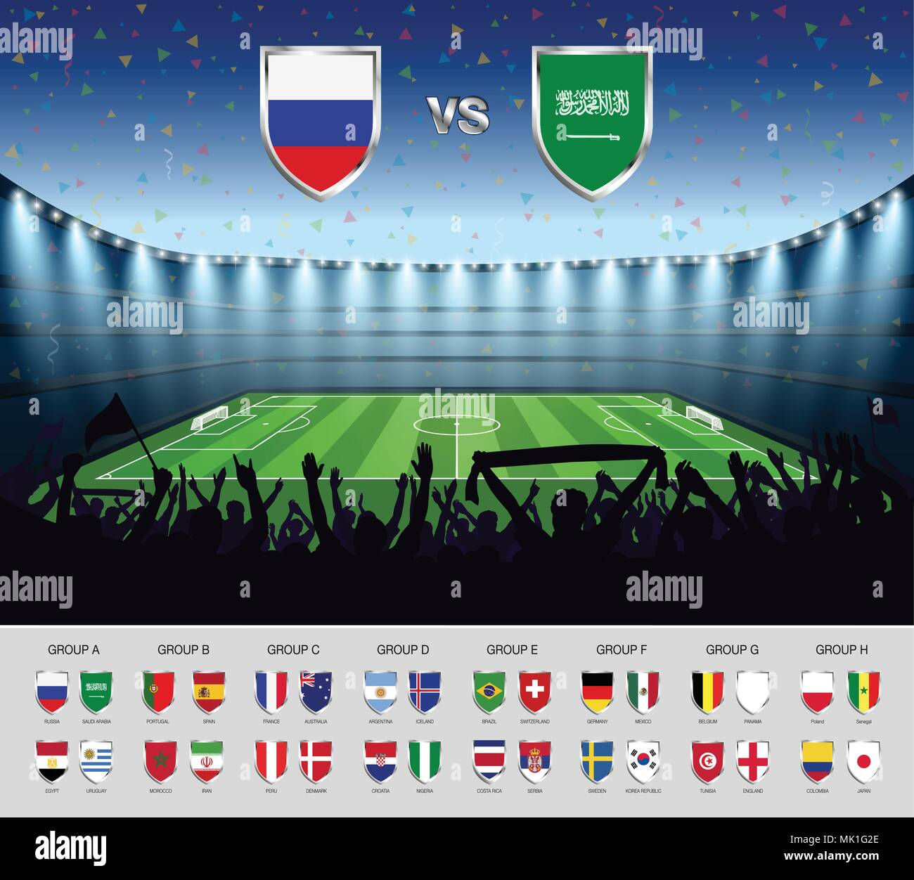 Soccer match Russia 2018 with excited crowd of people at soccer stadium background. Summer football tournament. Vector illustration. - Stock Vector