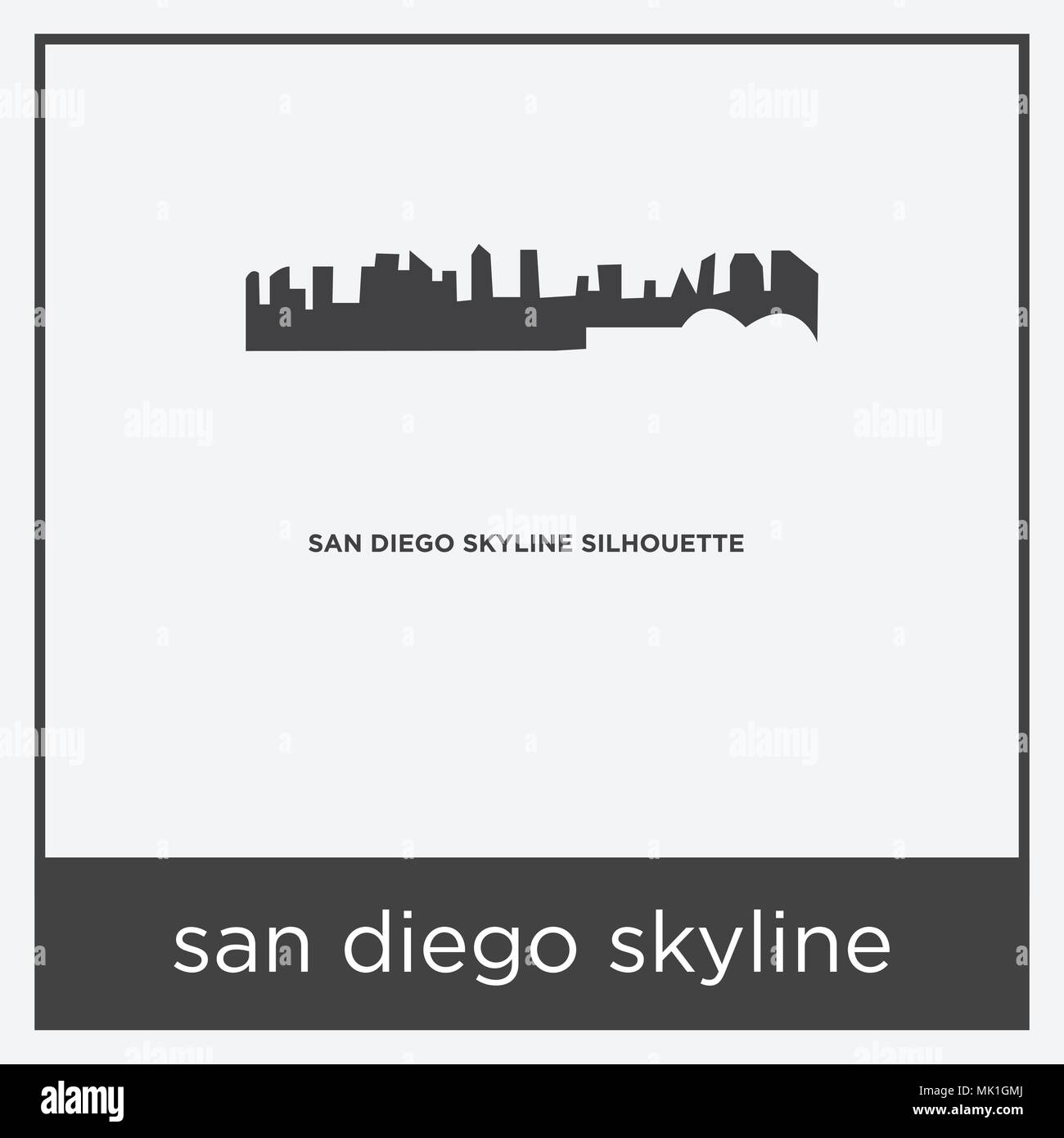 san diego skyline icon isolated on white background with gray frame ...