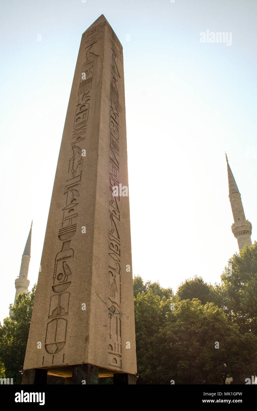 Obelisk of Theodosius at Sultanahmet Meydani,  istanbul , Turkey - Stock Image