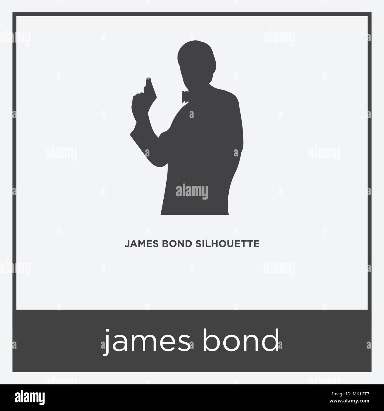 james bond icon isolated on white background with gray frame, sign ...