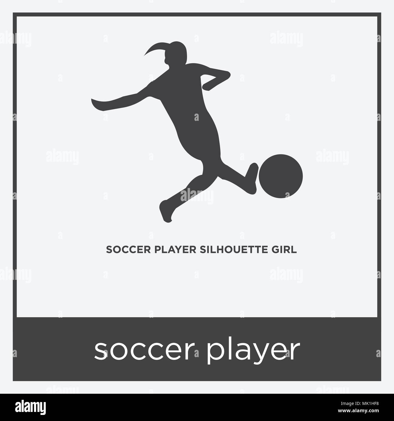 soccer player icon isolated on white background with gray frame ...
