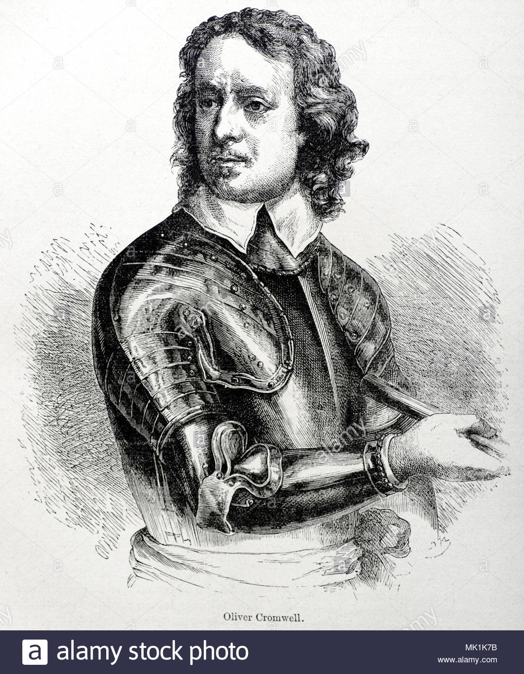 Oliver Cromwell portrait 1599 – 1658 was an English military and political leader, antique illustration from circa 1880 - Stock Image