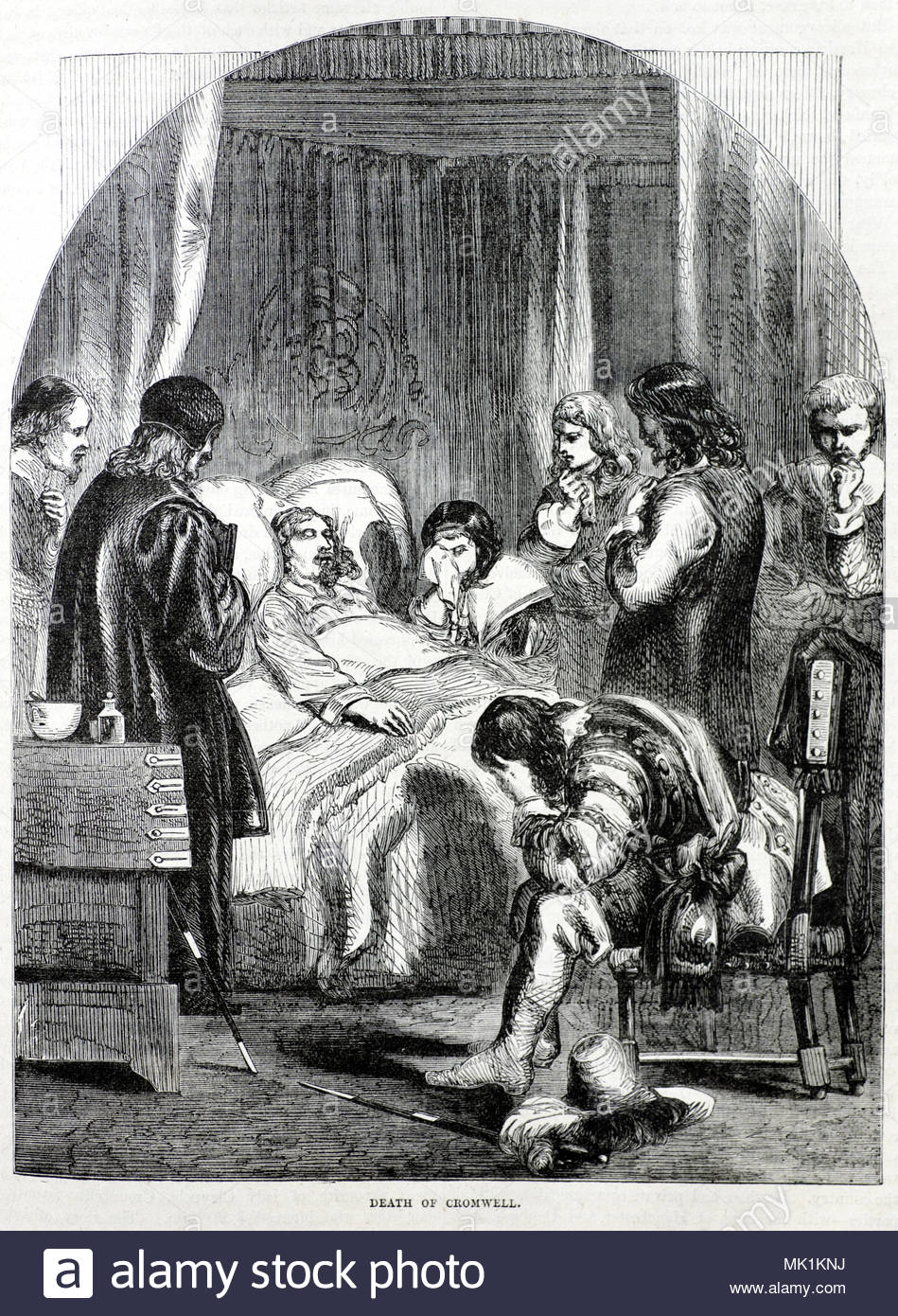 The Death of Oliver Cromwell, 3rd September 1658, antique illustration from circa 1880 Stock Photo