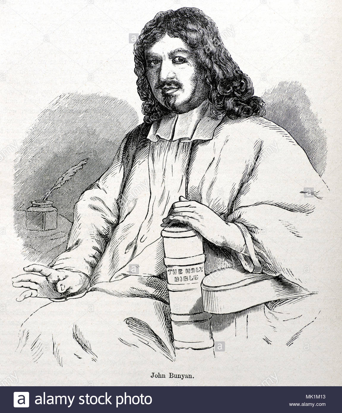 John Bunyan portrait 1628 – 1688 was an English writer and Puritan preacher best remembered as the author of the Christian allegory The Pilgrim's Progress, antique illustration from circa 1880 - Stock Image