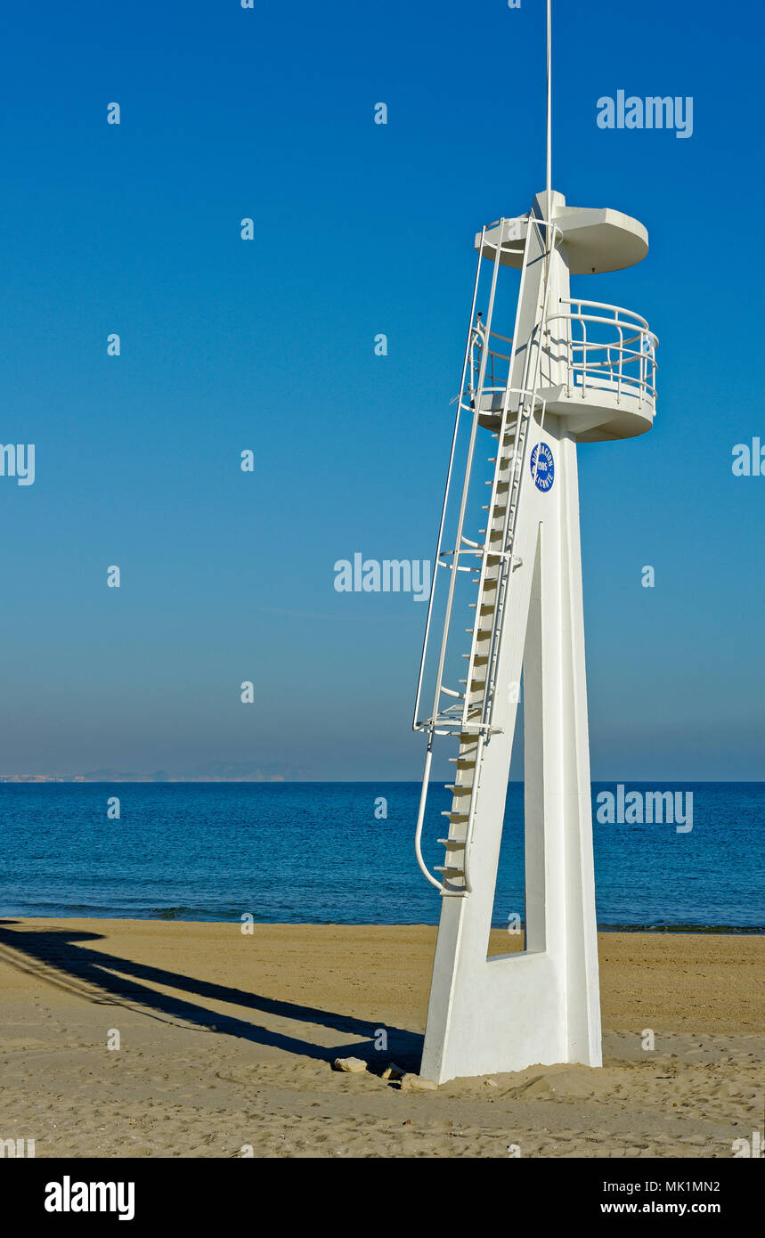 Beach watchtower on the beach - Stock Image