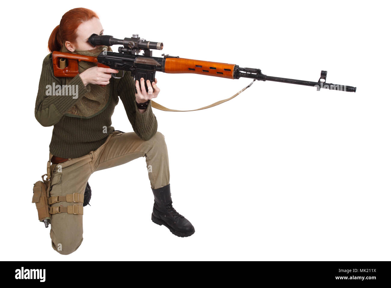 woman sniper with SVD sniper rifle isolated on white background - Stock Image