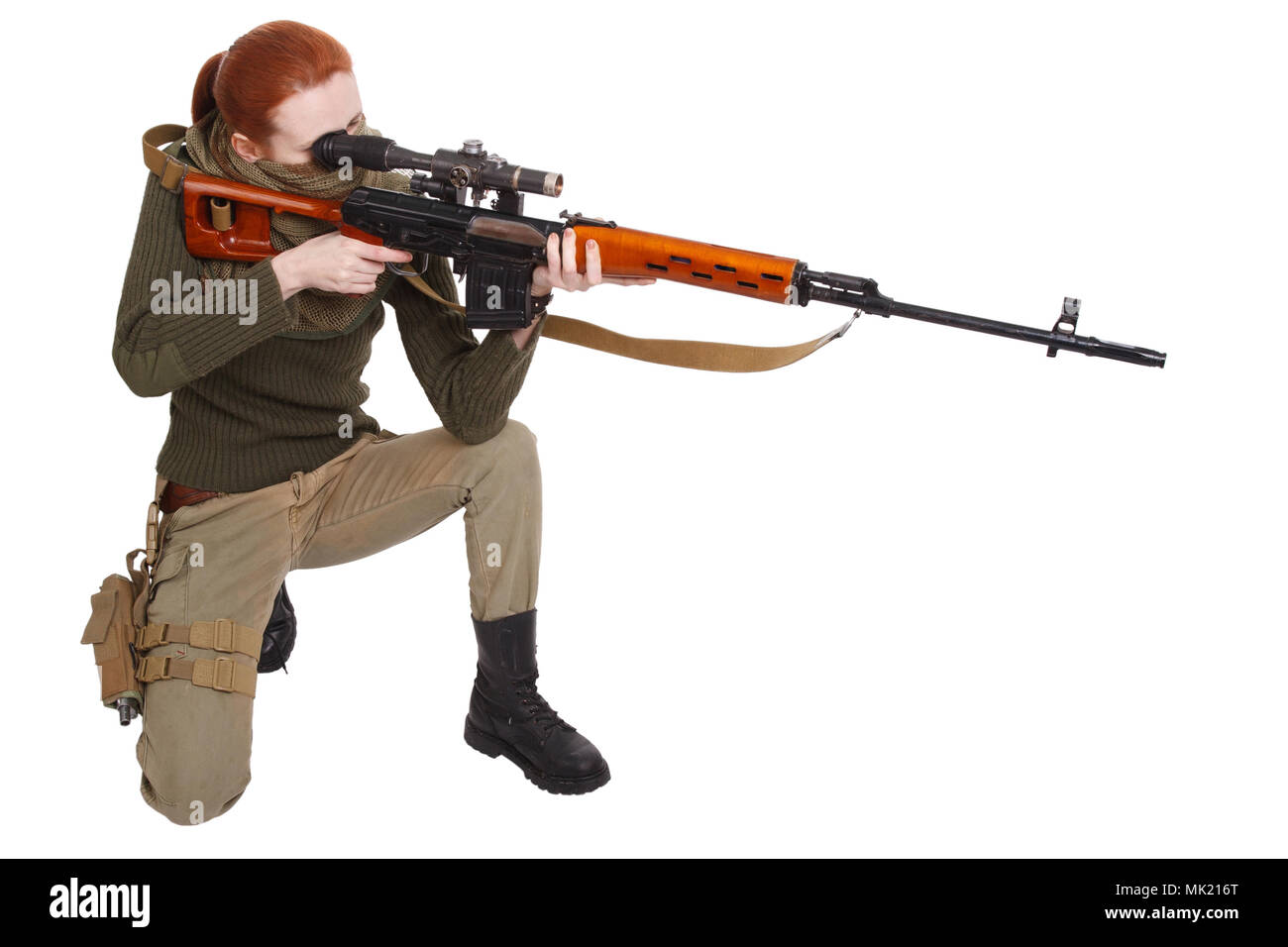 woman sniper with SVD sniper rifle isolated on white background Stock Photo