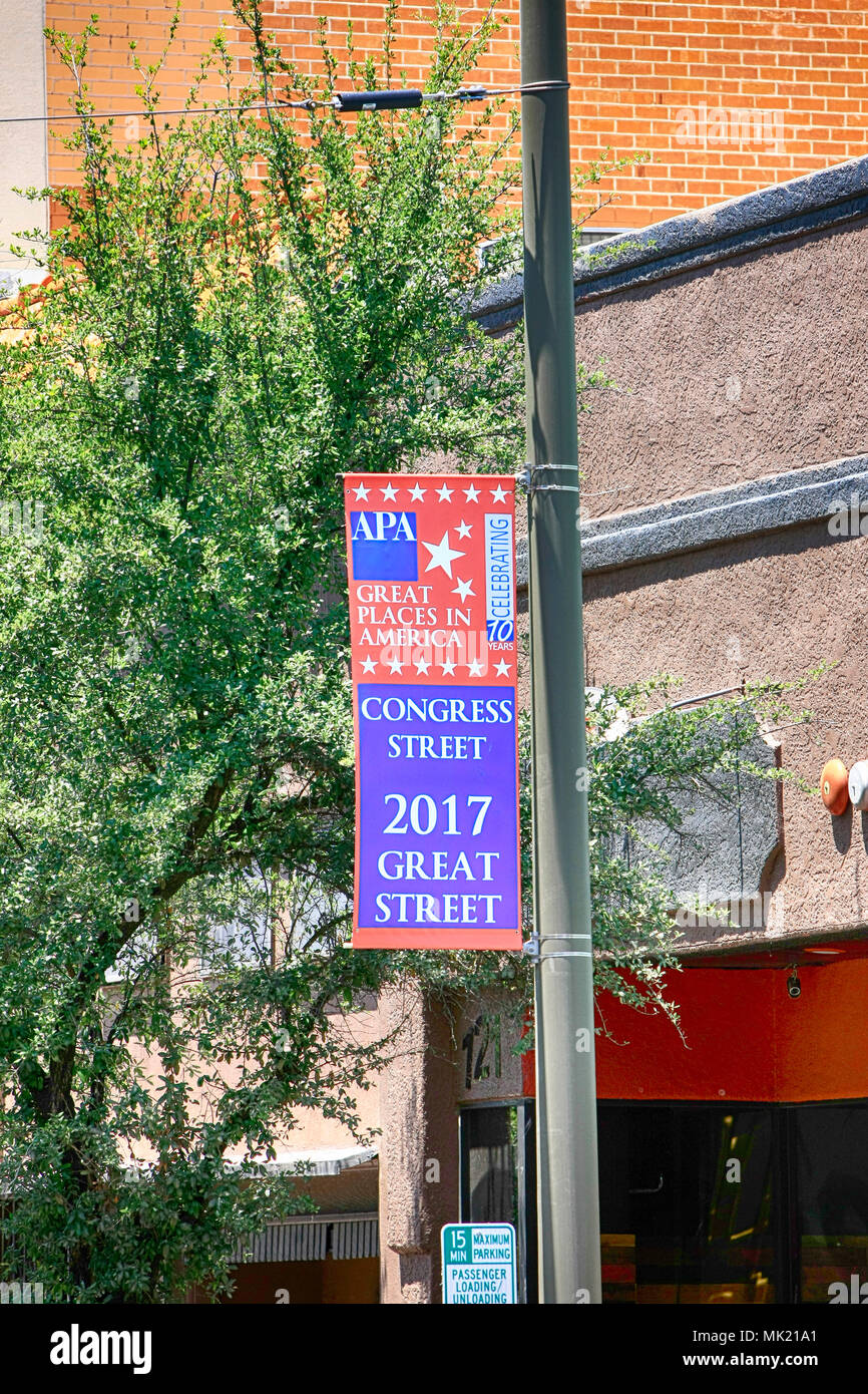Great Places in America banner in downtown Tucson AZ - Stock Image