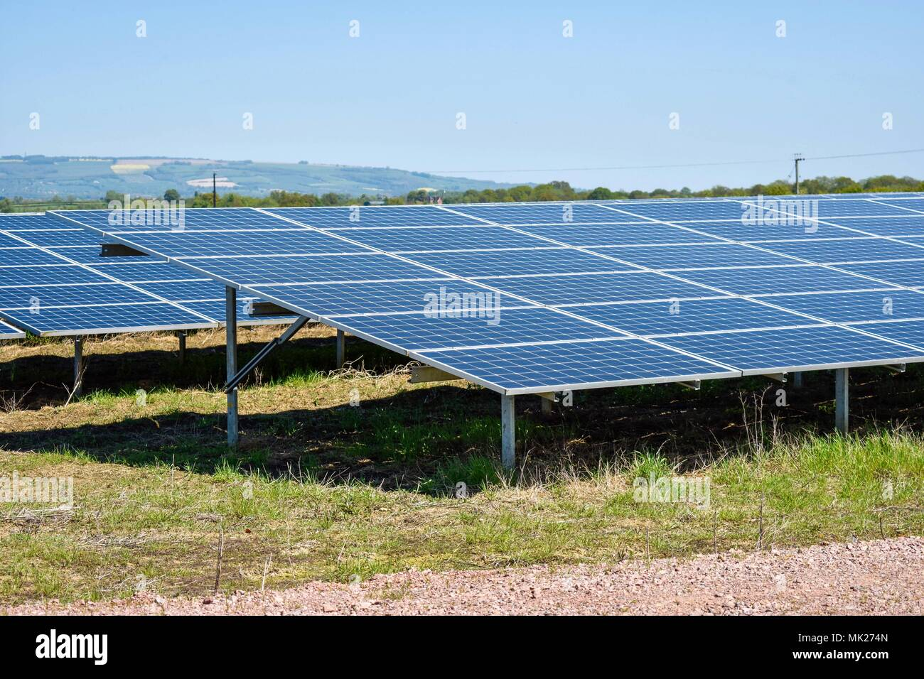 Solar panels at a solar farm, Gloucestershire, UK - Stock Image