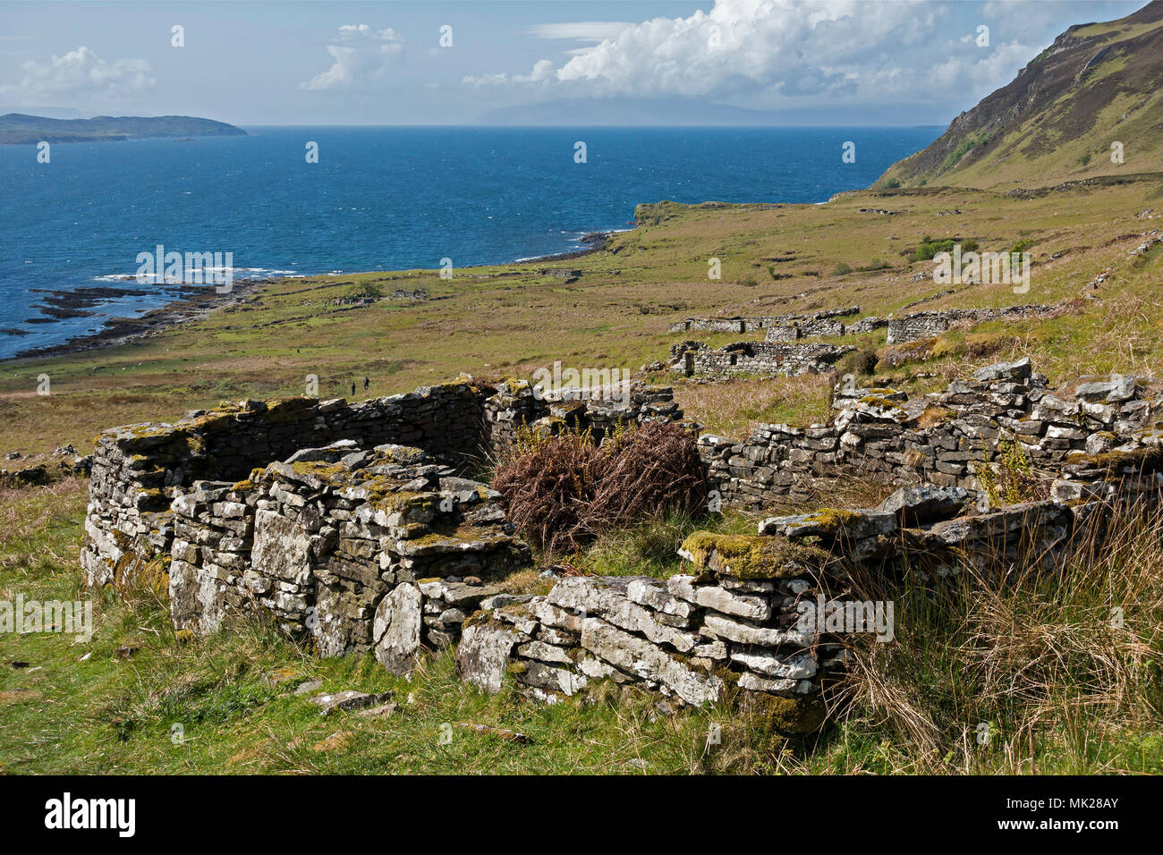 Ruins of old croft houses in the deserted coastal village of Boreraig, Isle of Skye, Scotland, UK - Stock Image