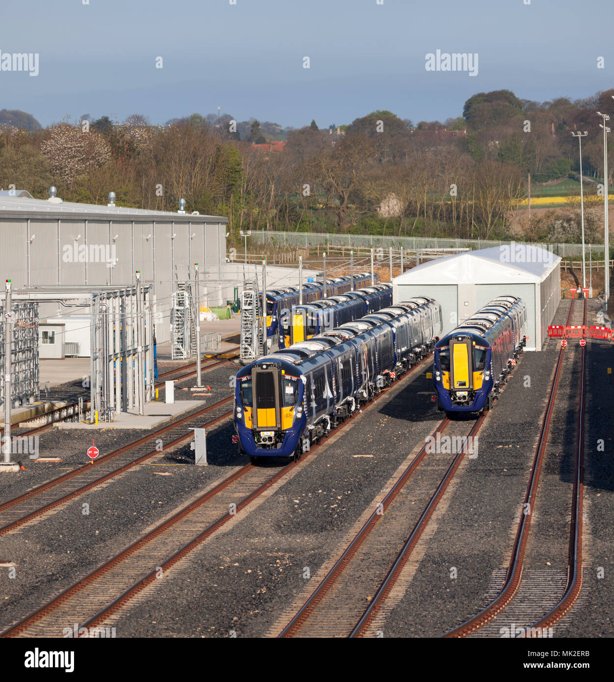 New class class 385 electric trains  for Scotrail awaiting delivery at the Hitachi train assembly factory at Newton Aycliffe, county Durham Stock Photo