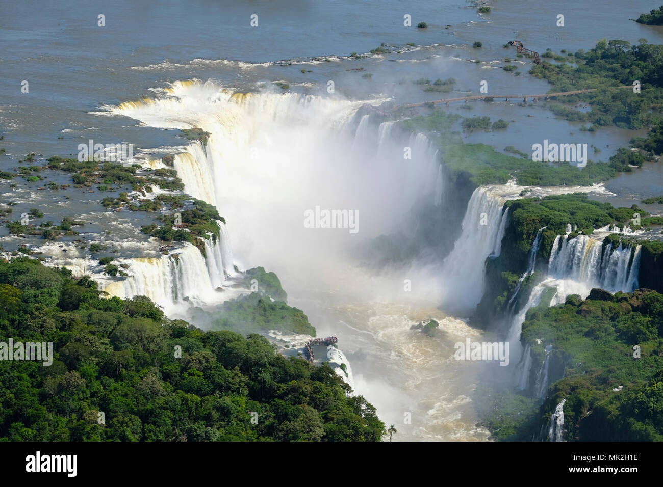 Aerial view of the Devil's Throat or Garganta del Diablo at Iguassu (Iguacu / Iguazu) falls on the border of Argentina and Brazil - Stock Image