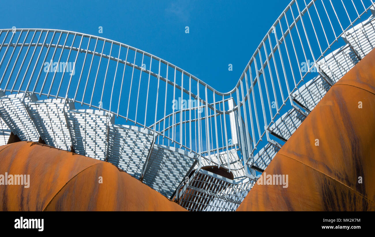 Stairs on a rusty steel structure Stock Photo