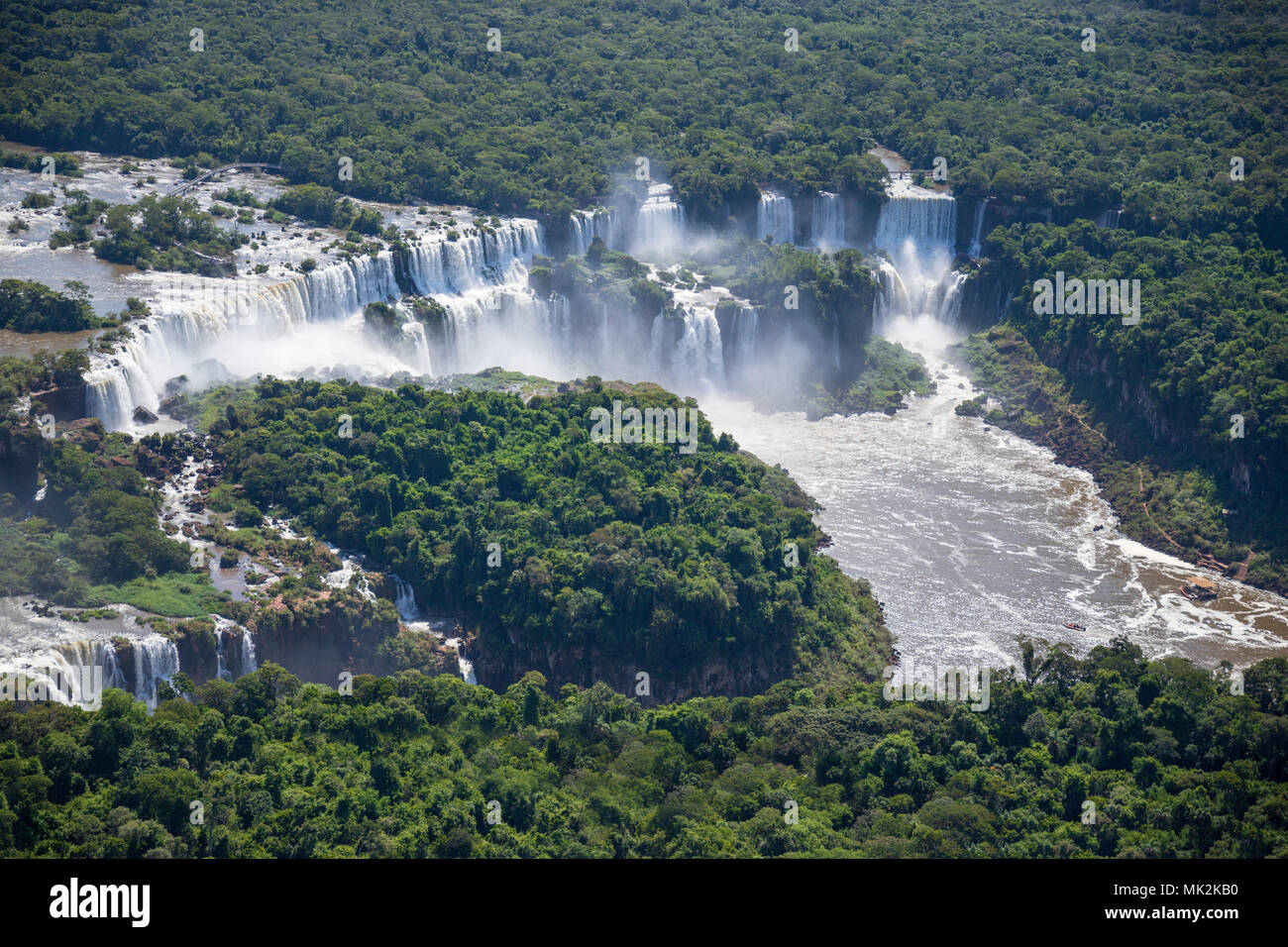 Aerial view of the Iguassu or Iguacu falls - the world's biggest waterfall system on the border of Brazil an Argentina Stock Photo