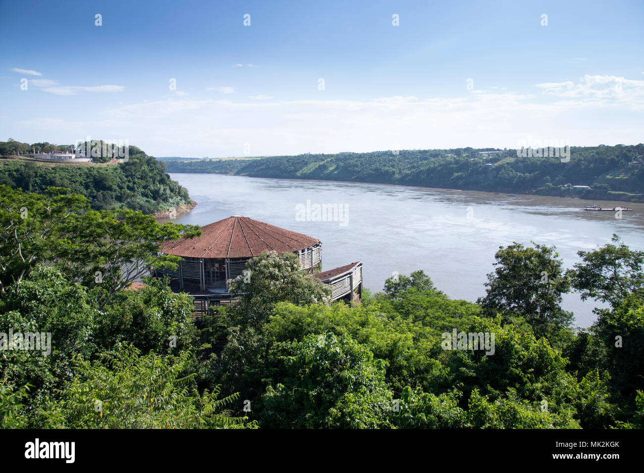The Triple frontier tri-border area along the junction of Paraguay, Argentina, and Brazil, where the Iguazu and Parana rivers converge - Stock Image