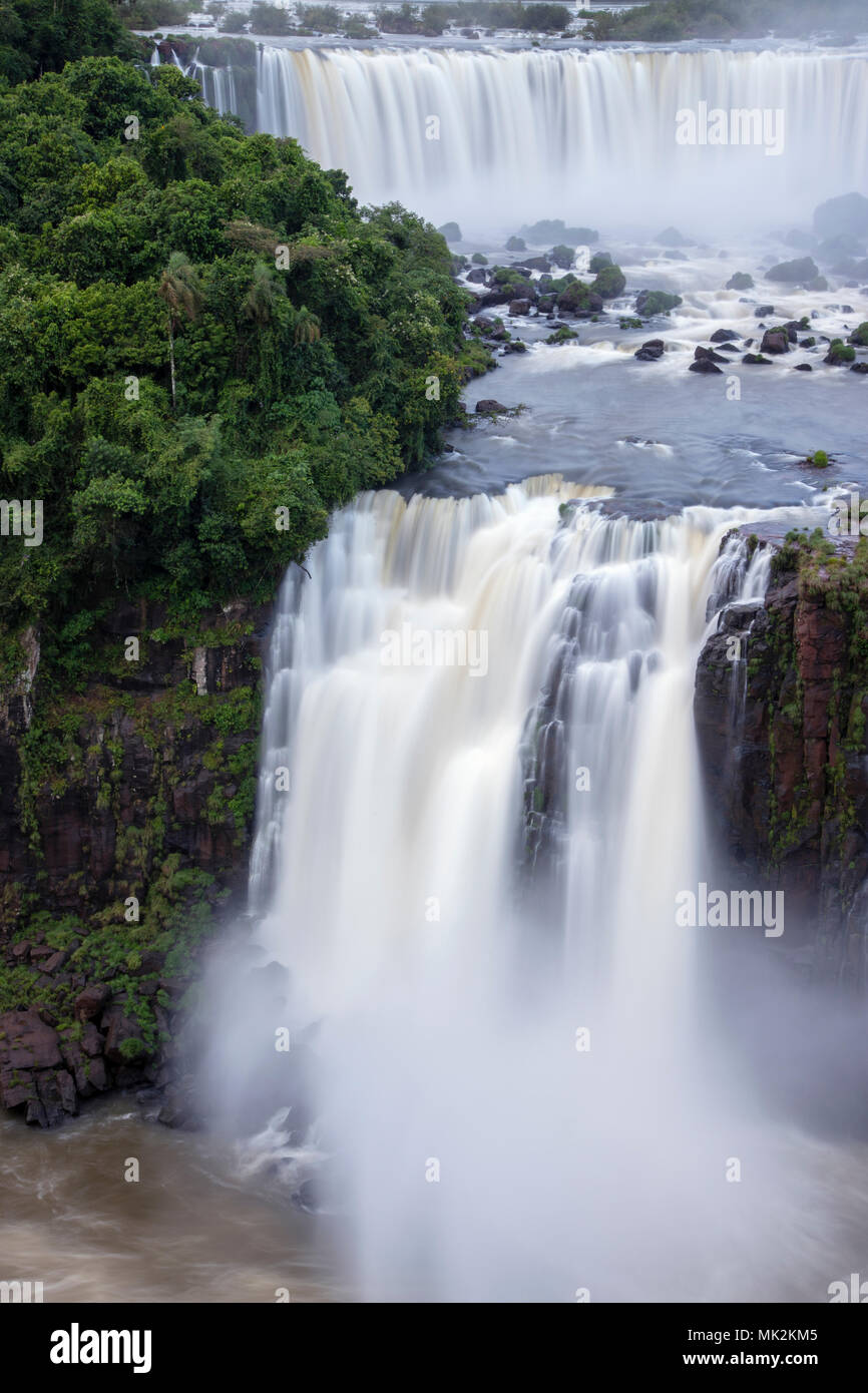 The Iguassu or Iguacu falls - the world's biggest waterfall system on the border of Brazil an Argentina - Stock Image