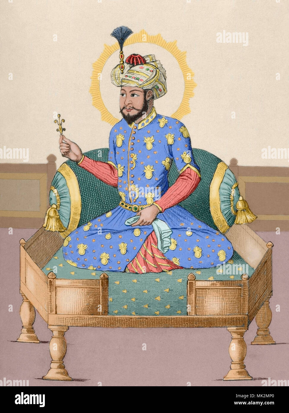 Timur (Transoxiana, 1336-Otrar, Timurid Empire, 1405). Turco-Mongol conqueror, also known as Amir Timur and Tamerlane (Timur the Lame). Founder of the Timunid Empire in Central Asia and Persia. Engraving of 1845. Later colouration.. - Stock Image