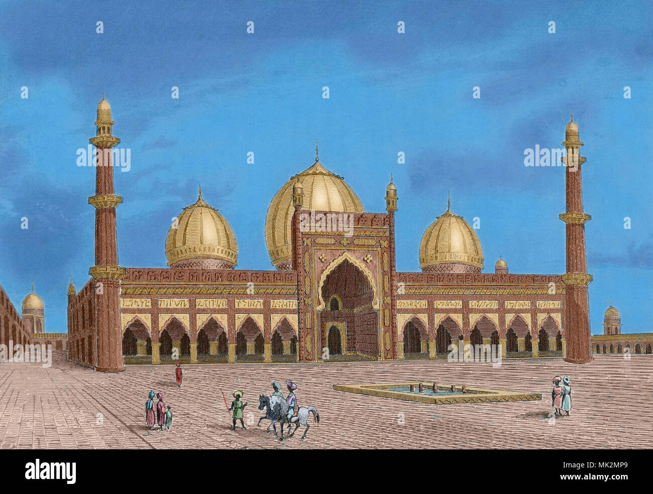 Delhi, India. The Masjid-i Jahan-Numa, known as the Jama Masjid. It was built by Mughal emperor Shah Jahan between 1650 and 1656. Engraving by Lemaitre, from Panorama Universal, India, 1845. Later colouration. - Stock Image