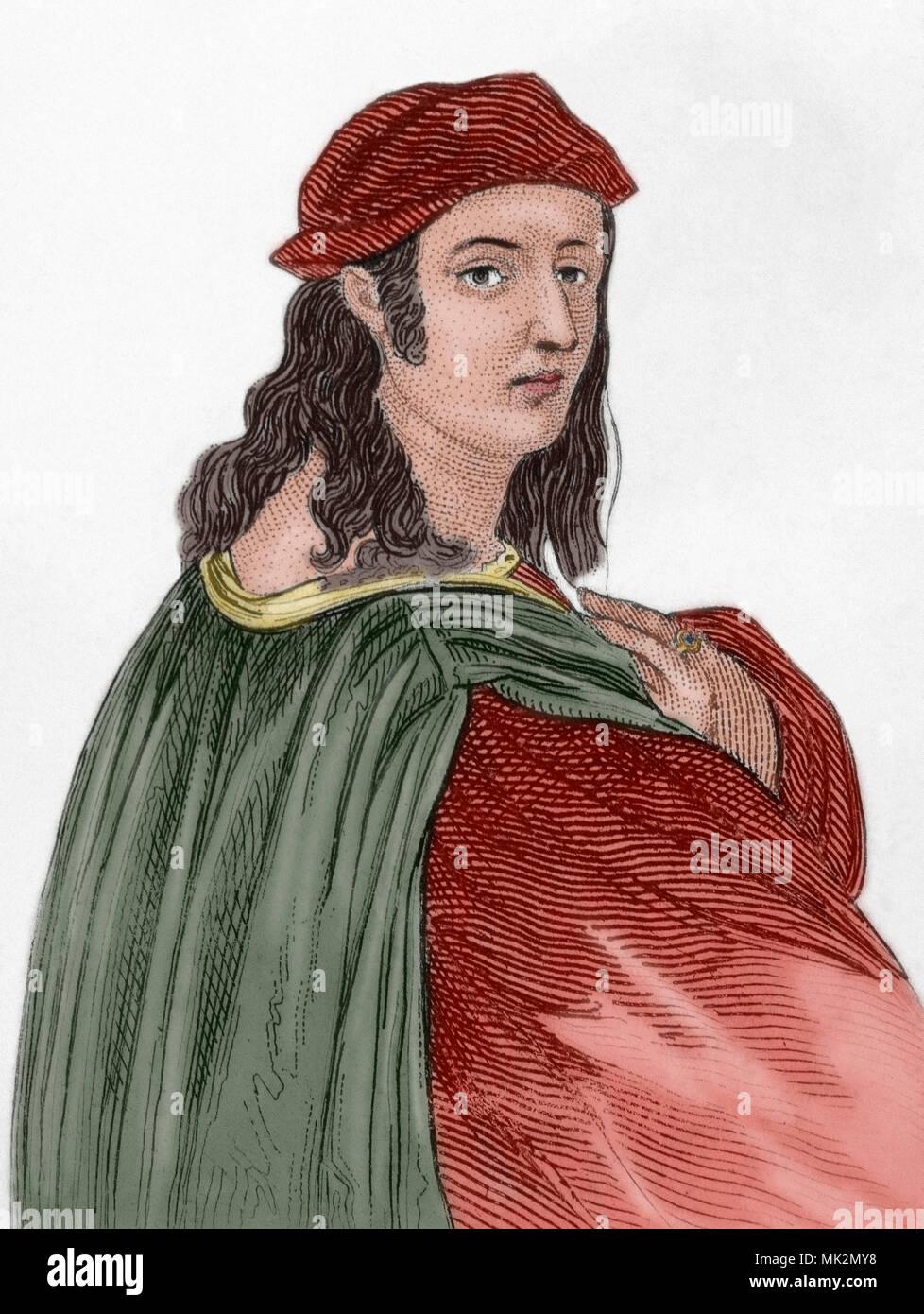 Raphael, Raffaello Sanzio da Urbino (Urbino, 1483-Rome, 1520). Italian artist of the Renaissance. Engraving. Later colouration. Stock Photo