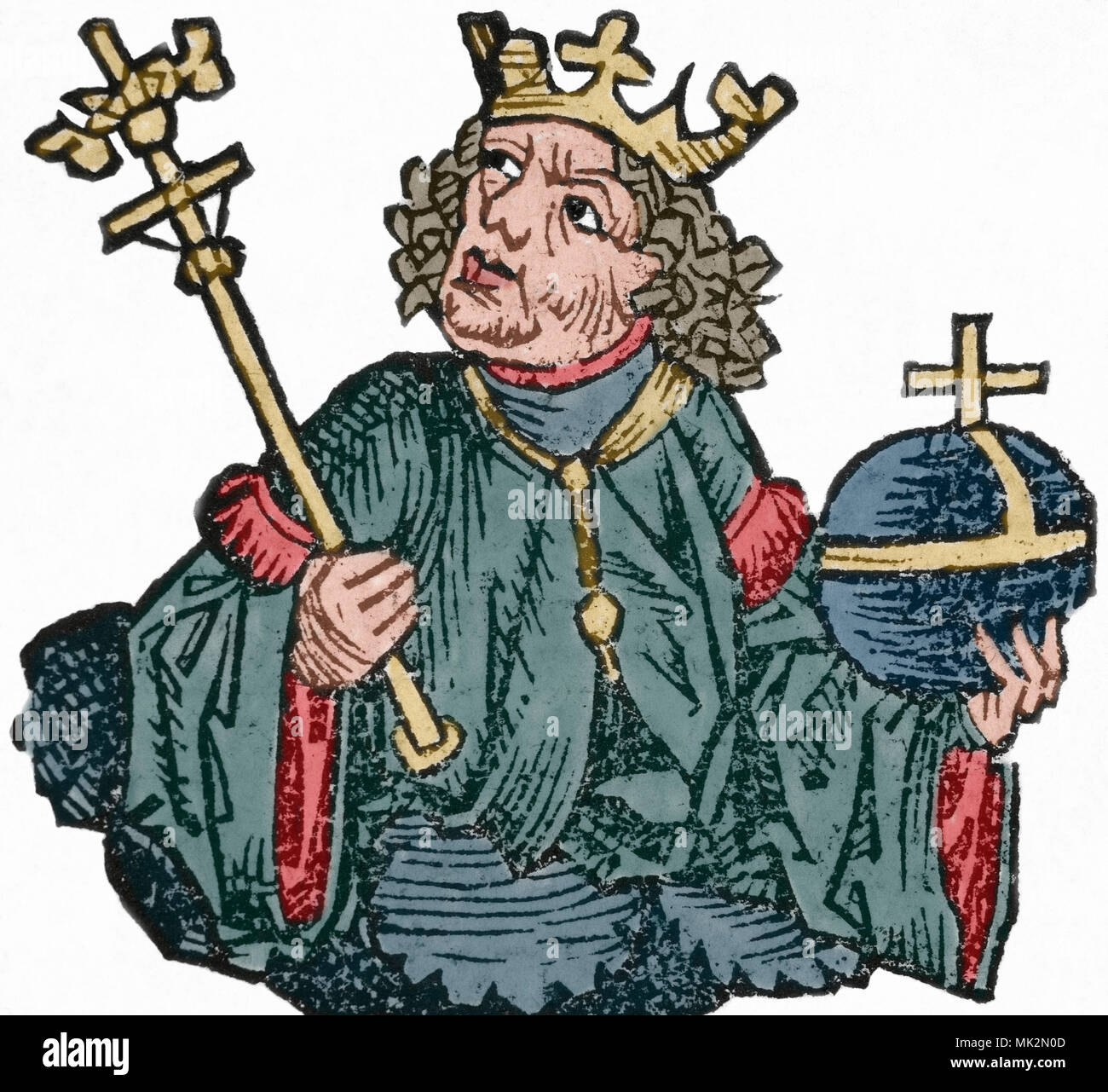 Charles II of Naples (1254-1309), also known as Charles the Lame. King of Naples, Count of Provence and Forcalquier (1285-1309), Prince of Achaea (1285-1289) and Count of Anjou and Maine (1285-1290). He was the son of Charles I of Anjou and Beatrice of Provence. Engraving, 16th century. Later colouration. - Stock Image