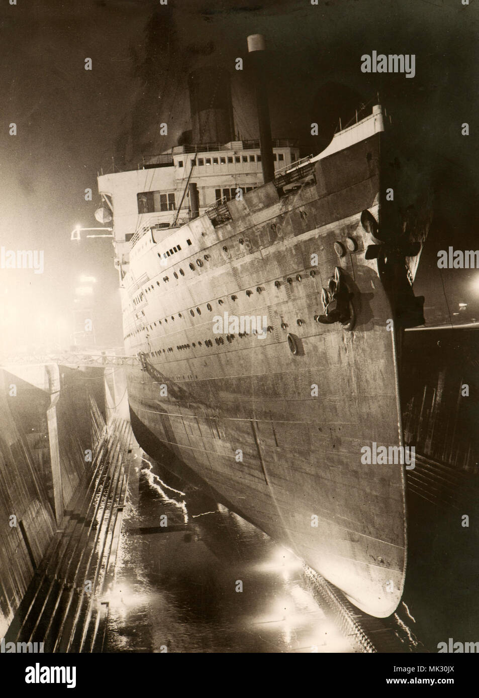 The Majestic liner undergoing refurbishment works in Southampton dry docks Associated Press photo (1930s) - Stock Image