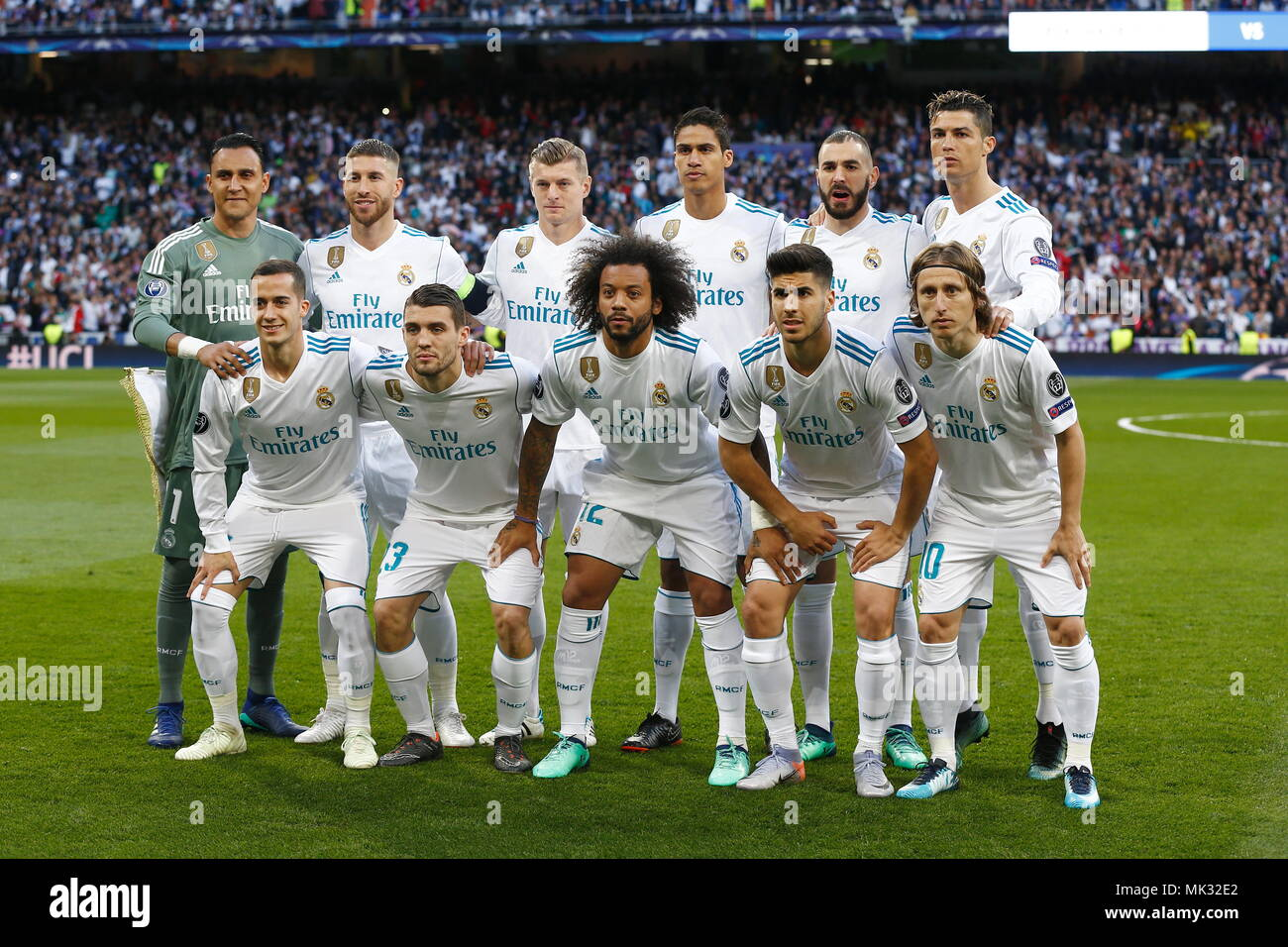 Madrid Spain 1st May 2018 Real Madrd Team Group Line Up Real Football Soccer Uefa Champions