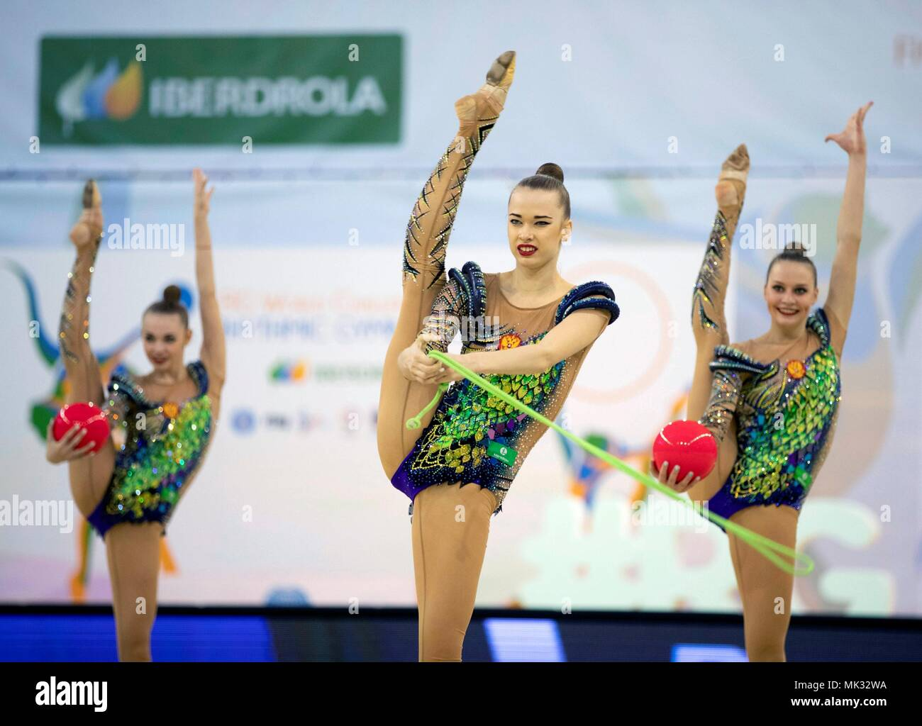 Russian team performs in the Ball and Rope competition during the