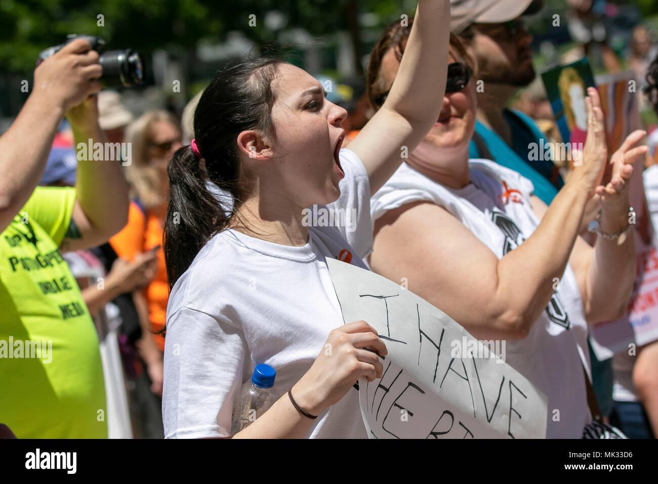 Dallas, USA  05th May, 2018  Demonstrators display signs at