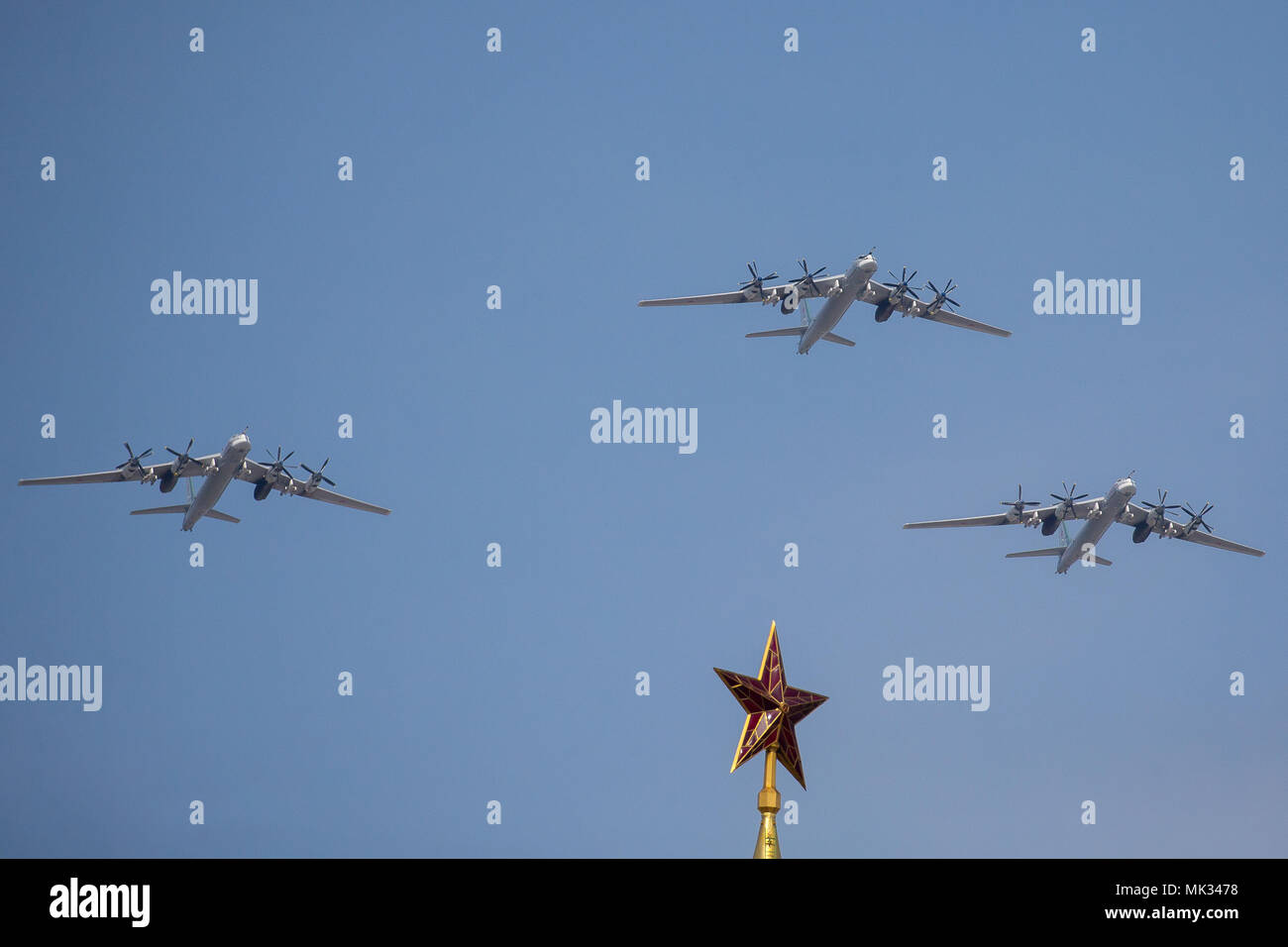 Moscow, Russia. 4th May, 2018. Russian Air Force Tupolev Tu-95MS four-engine turboprop-powered strategic bomber and missile carrier fly in formation during a rehearsal of the upcoming Victory Day air show marking the 73rd anniversary of the victory over Nazi Germany in the 1941-45 Great Patriotic War, the Eastern Front of World War II. Credit: Victor Vytolskiy/Alamy Live News - Stock Image