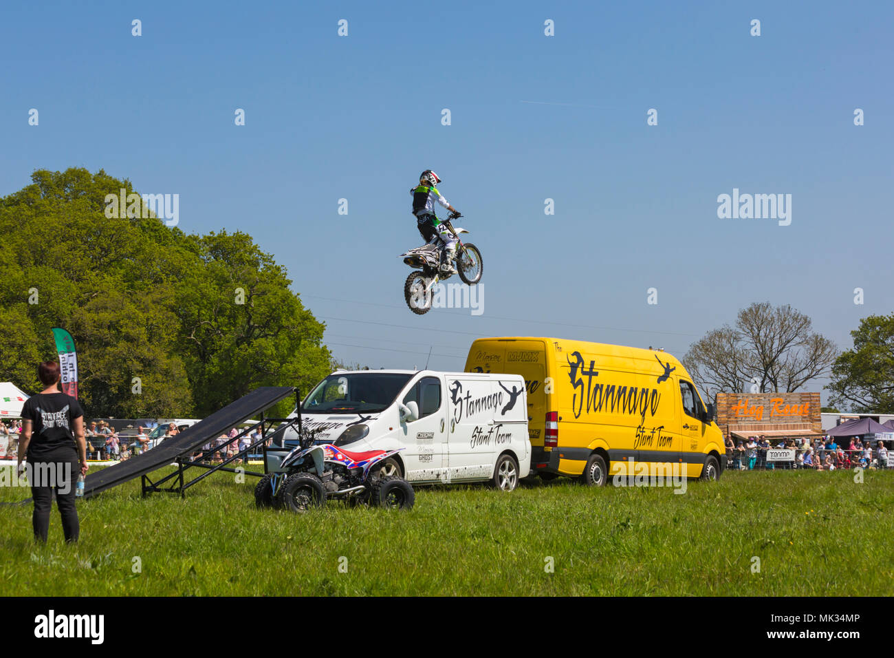Netley Marsh, Hampshire, UK. 6th May 2018. The first day, of the two day event, Hampshire Game & Country Fair attracts the crowds. Stannage International Stunt Display Team thrill the crowds. - Stock Image
