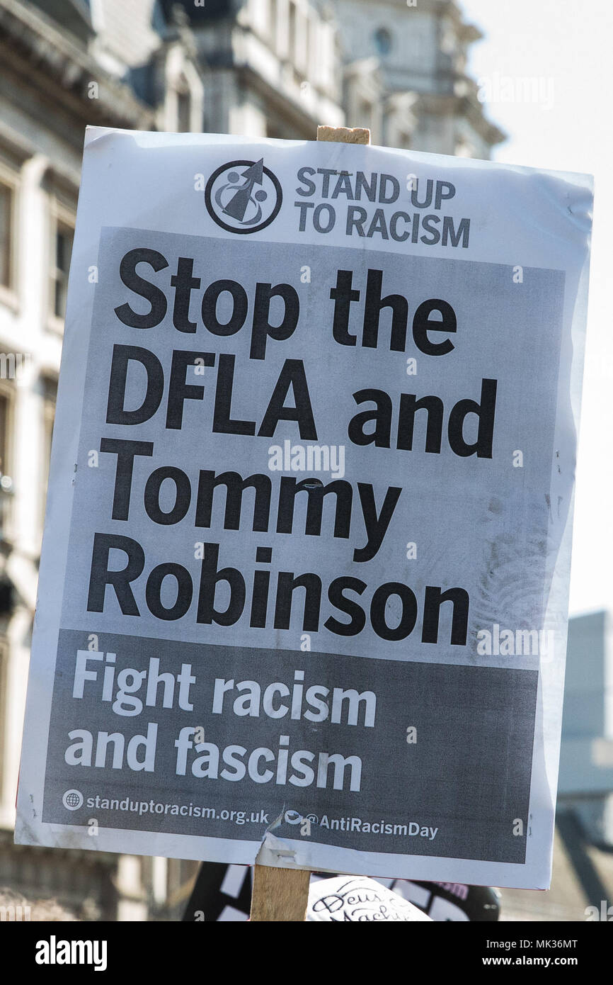 London, UK. 6th May, 2018. A placard at the counter-protest by anti-racist and anti-fascist groups to the far-right Democratic Football Lads Alliance's 'Day of Freedom' in Whitehall at which former English Defence League leader Tommy Robinson was scheduled to speak. Credit: Mark Kerrison/Alamy Live News - Stock Image