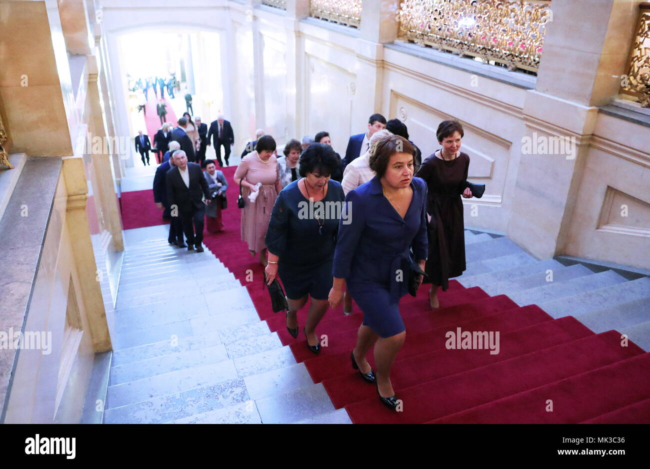 Moscow, Russia. 07th May, 2018. MOSCOW, RUSSIA - MAY 7, 2018: Guests arrive for an inauguration ceremony of Vladimir Putin as President of Russia at the Moscow Kremlin. Mikhail Klimentyev/Russian Presidential Press and Information Office/TASS Credit: ITAR-TASS News Agency/Alamy Live News - Stock Image