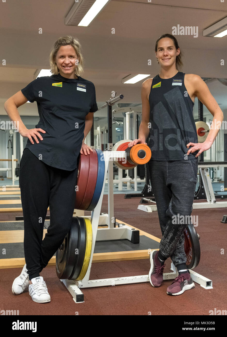 26 April 2018 Germany Hamburg Laura Ludwig L And Kira Walkenhorst German Beach Volleyball Olympic Winners And World Champions Stand Next To Each Other In The Gym Of The Olympic Training Centre