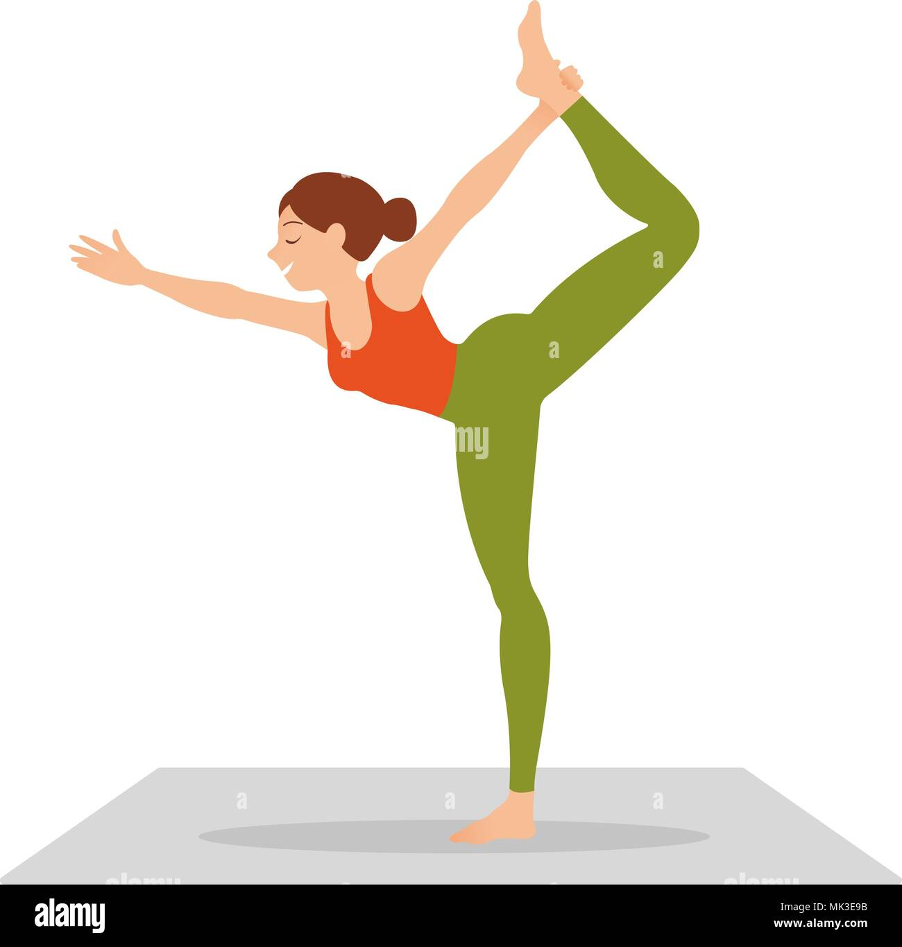 side view of slim woman standing in yoga pose isolated on white background - Stock Vector