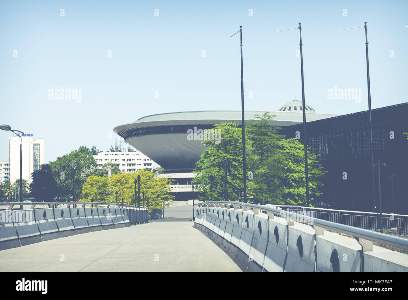 KATOWICE, POLAND - MAY 05, 2018: Entertainment hall called Spodek in city center of Katowice, Silesia. Stock Photo