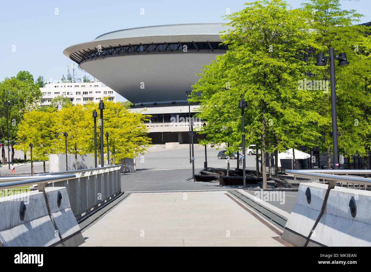 KATOWICE, POLAND - MAY 05, 2018: Entertainment hall called Spodek in city center of Katowice, Silesia. Stock Photo