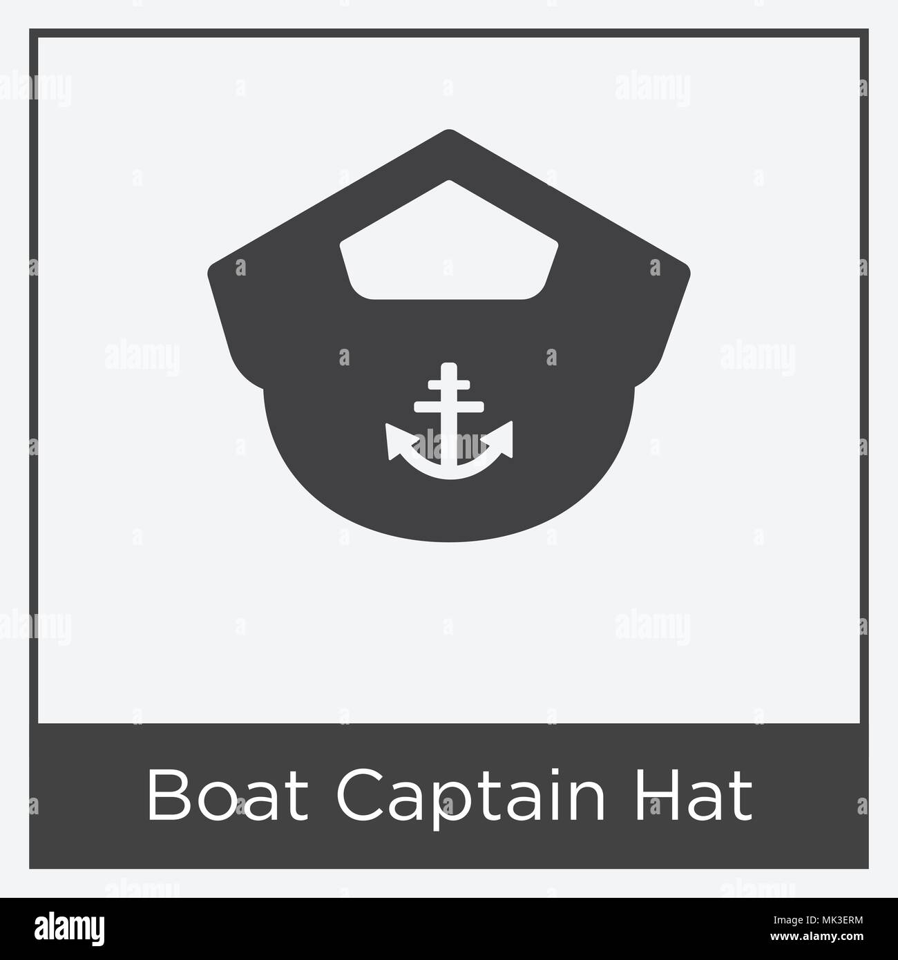 5e20666e591 Boat Captain Hat icon isolated on white background with gray frame ...