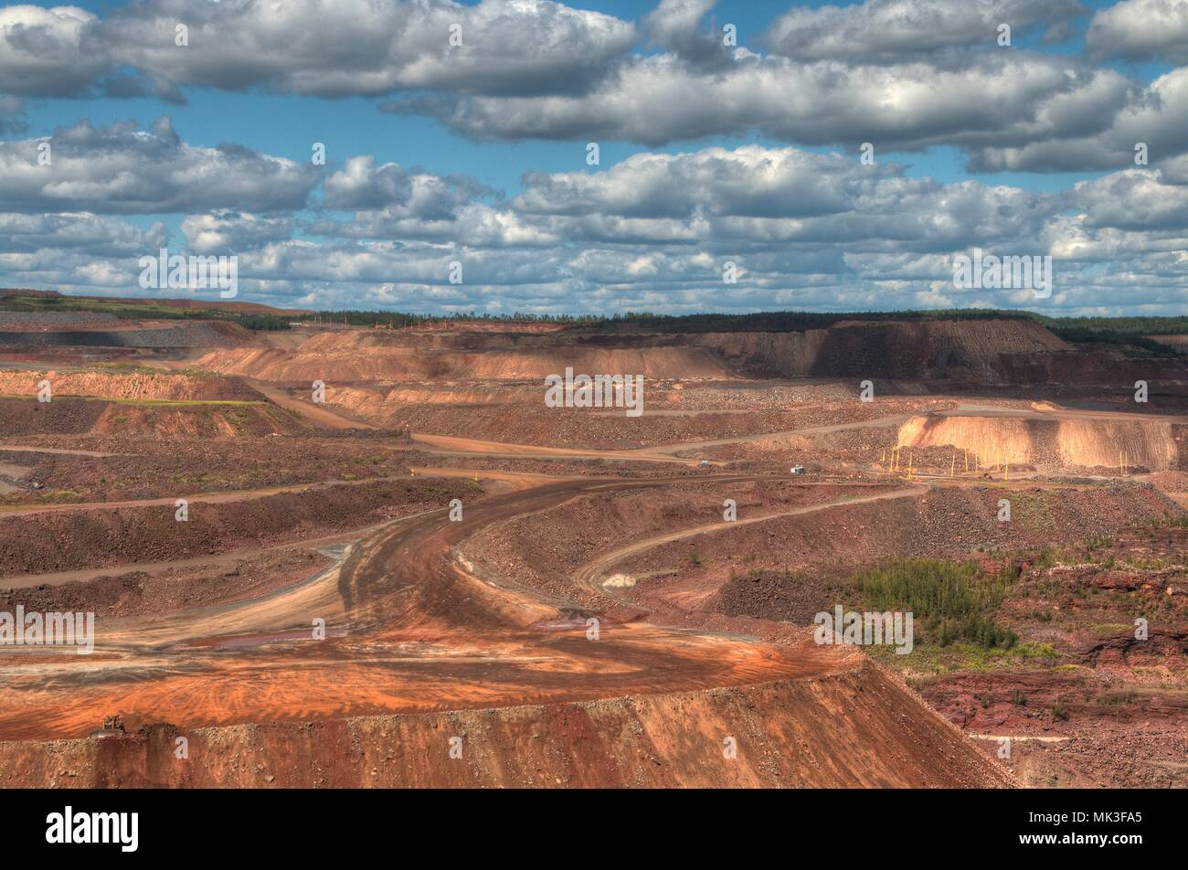 Hibbing, Minnesota has one of the largest open pit mines. - Stock Image