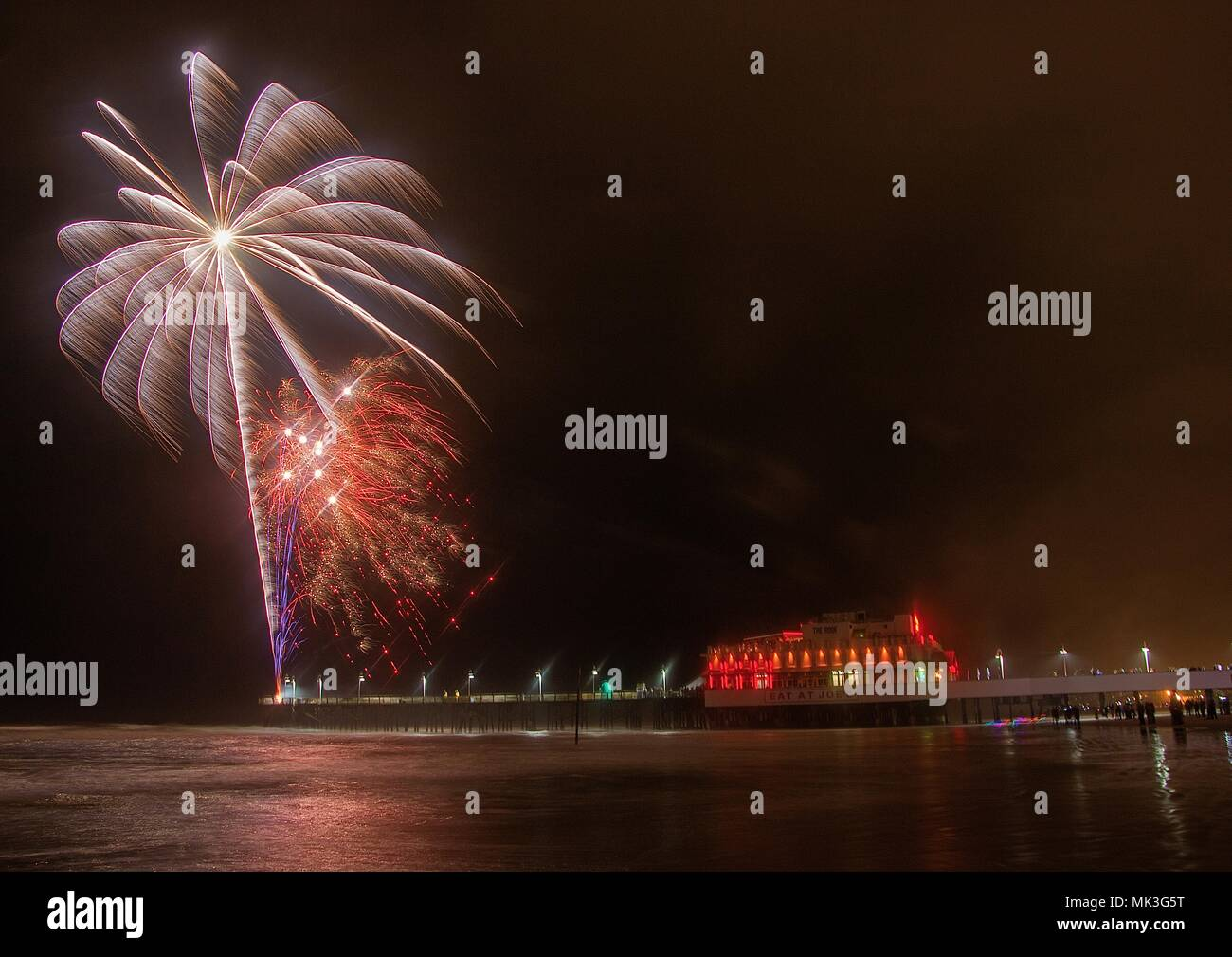 Fireworks Being Shot From The Pier At Daytona Beach In Florida Stock Photo Alamy