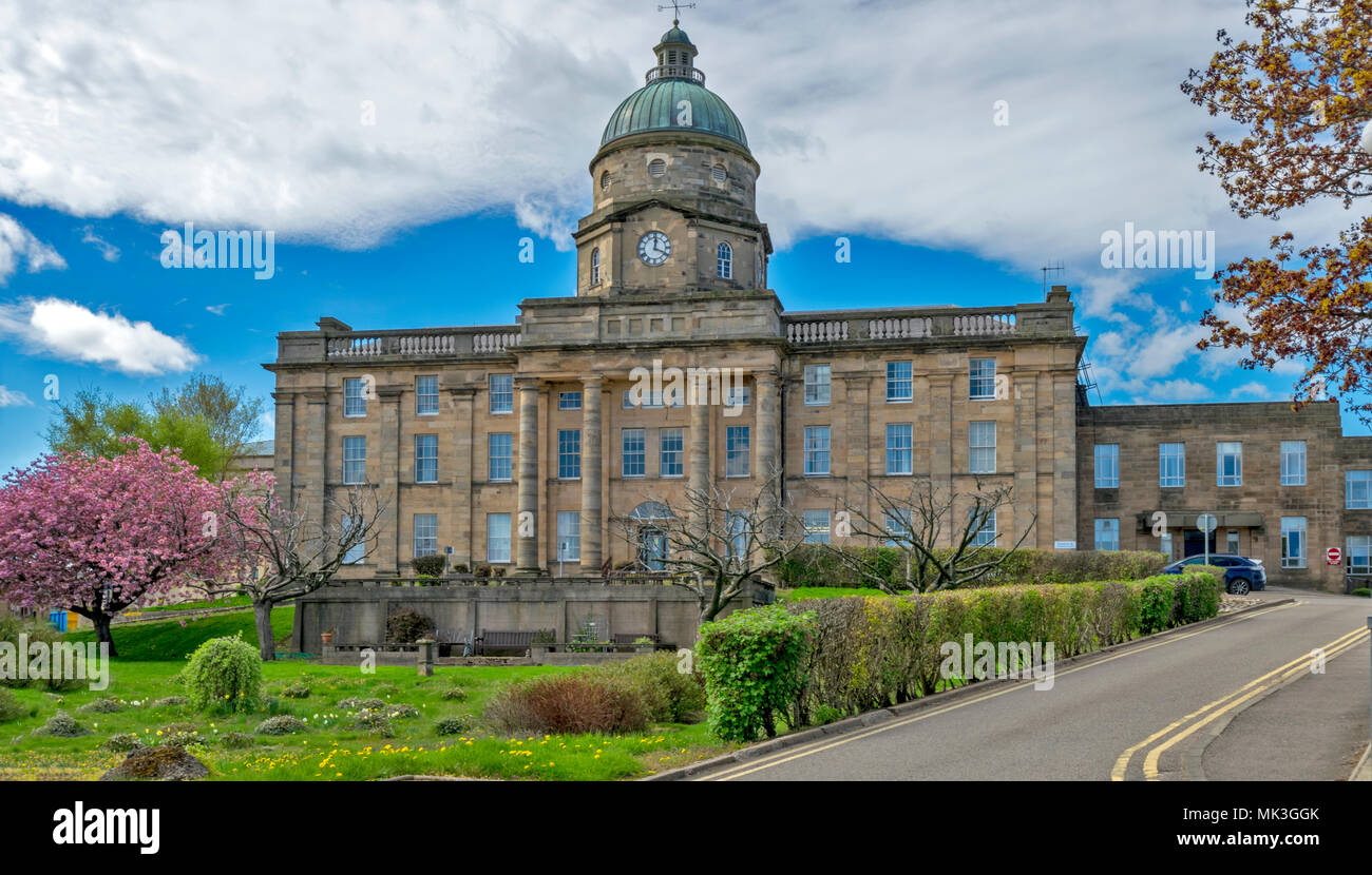 DR GRAYS HOSPITAL ELGIN MORAY SCOTLAND IN SPRING WITH A TREE COVERED IN PINK  BLOSSOM - Stock Image
