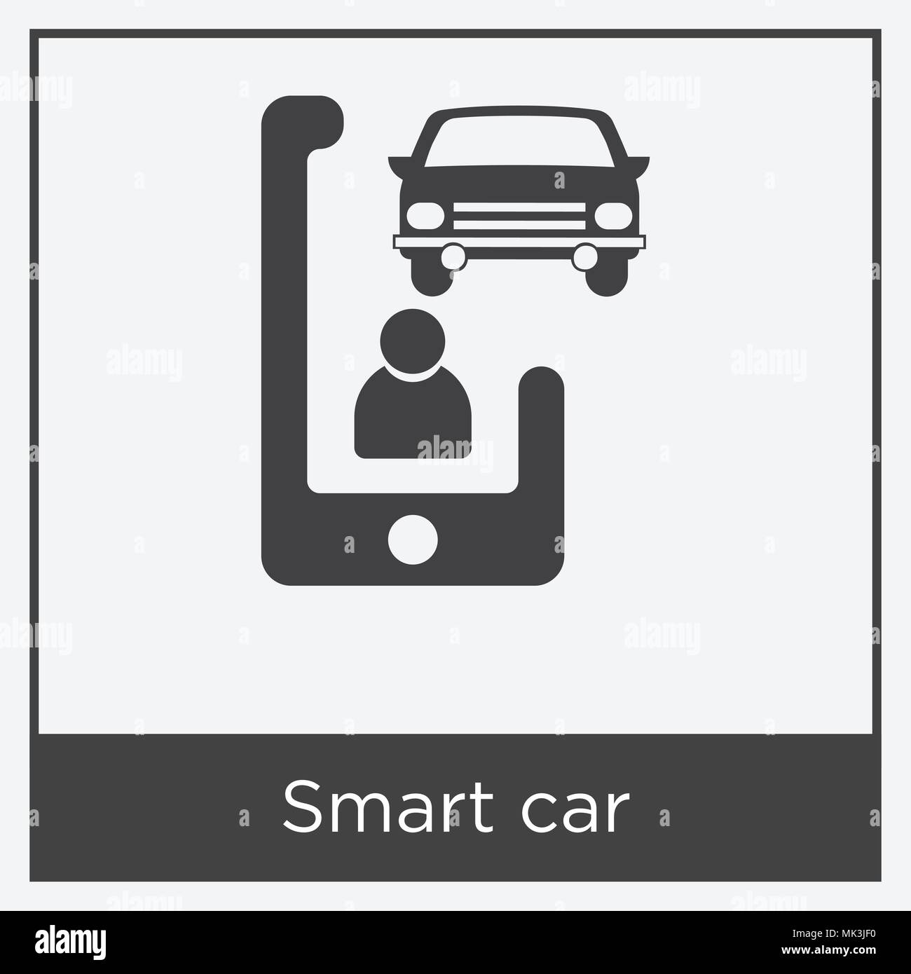 Smart car icon isolated on white background with gray frame, sign ...