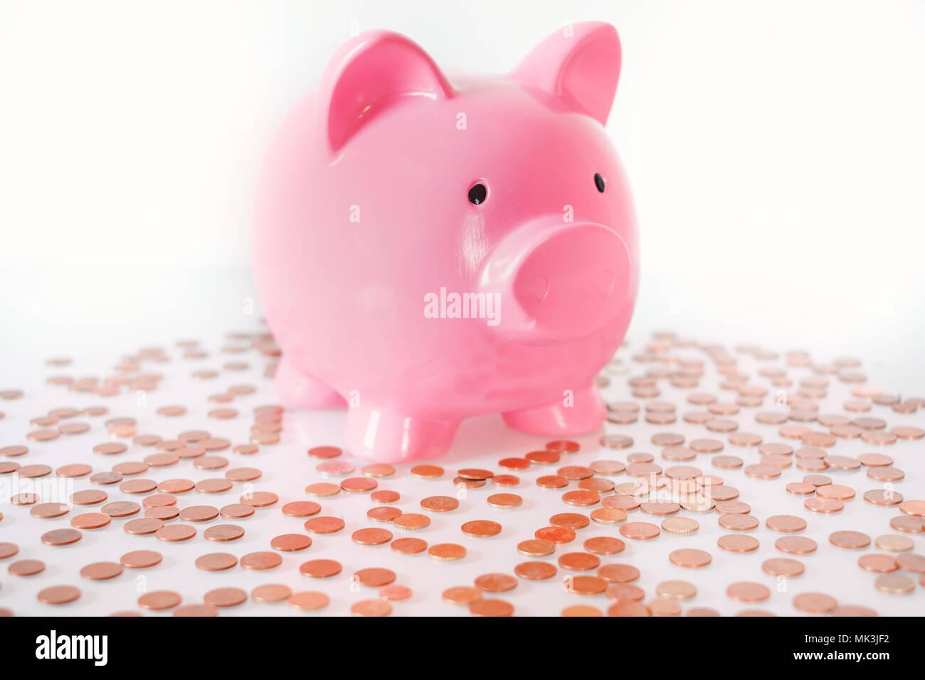 Piggy Bank Money Saving Finance Concept.Piggy bank isolated on white background. - Stock Image