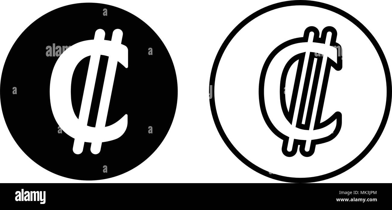 Costa Rica Colon Currency Symbol Icon, Isolated On White
