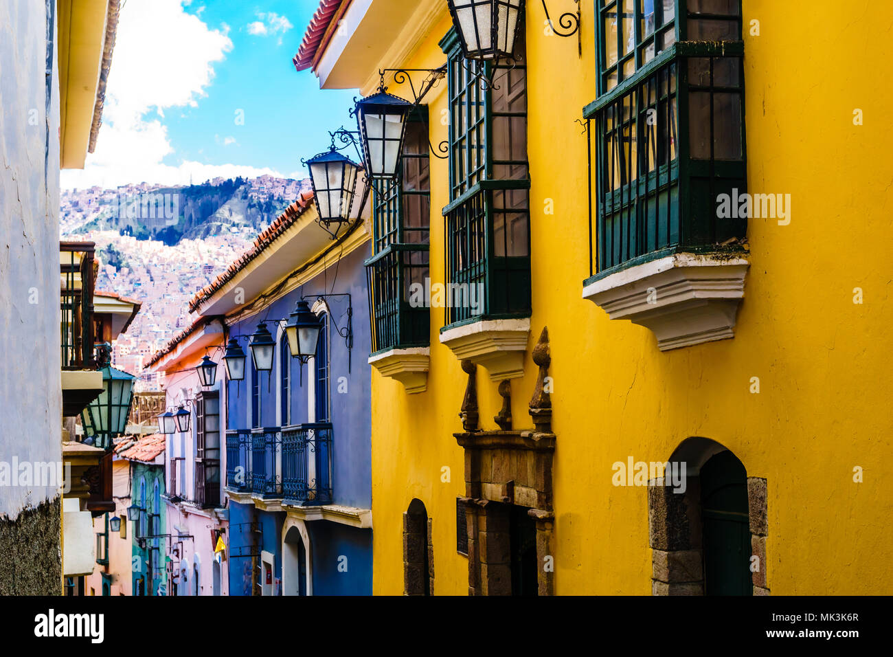 View on colonial buildings by jaen street in La Paz- Bolivia - Stock Image