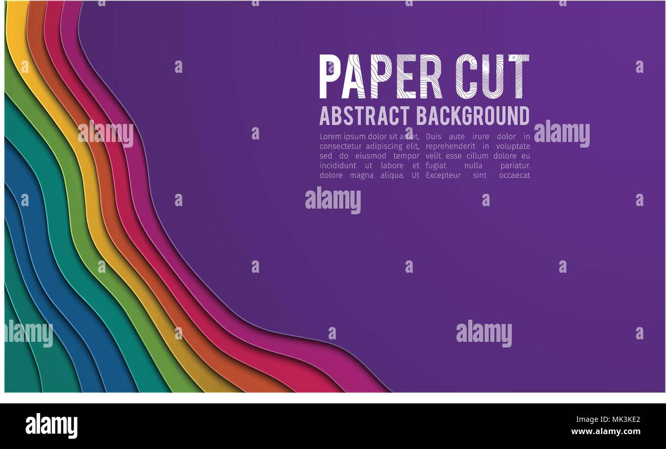 Colorful paper cutout. Paper cut banner concept. Paper carve blue gradient for card poster brochure flyer design in blue colors. 3d abstract background - Stock Image