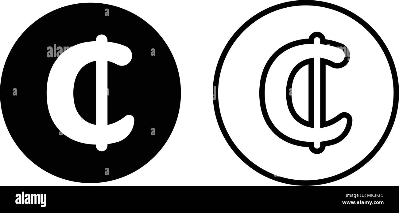 Ghana Cedi currency symbol icon, isolated on white background - Stock Image