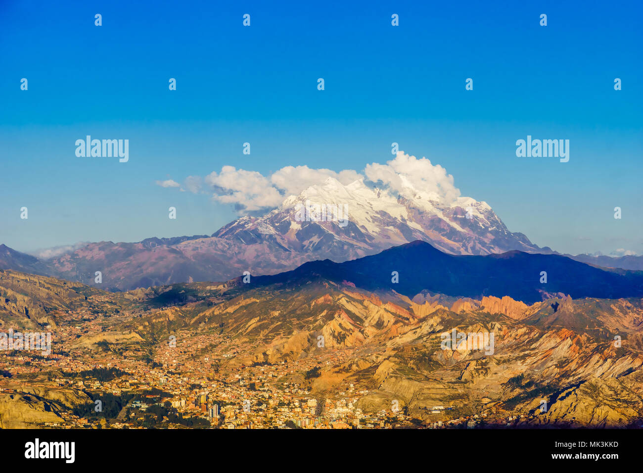View on cityscape of La Paz with illimani mountain - Bolivia - Stock Image